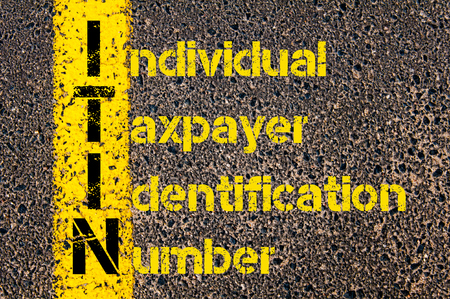 Concept image of Business Acronym ITIN as Individual Taxpayer Identification Number written over road marking yellow paint line.
