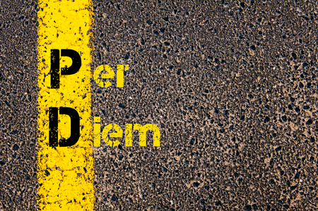 Concept image of Accounting Business Acronym PD Per Diem written over road marking yellow paint line.