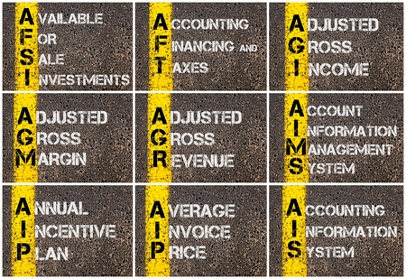 Photo collage of Business Acronyms written over road marking yellow paint line
