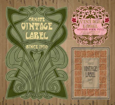Illustration pour vector vintage items: label art nouveau - image libre de droit
