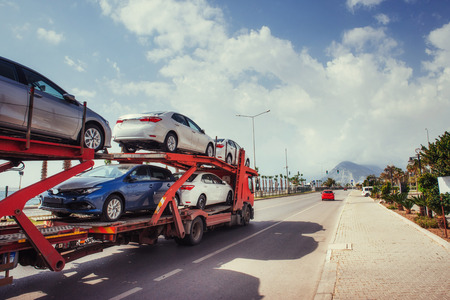 Photo for Car carrier of Trucks series. New autos coming - Royalty Free Image