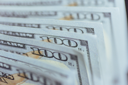 Photo pour American Dollars. One Hundred Dollar Banknotes, 100 - image libre de droit