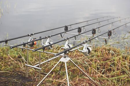 Carp fishing rods standing on special tripods. Expensive coils and a radio system of crochet. Hunting and hobby sport.