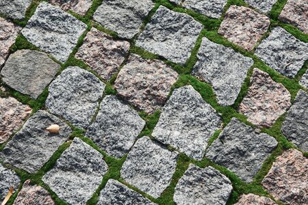 Photo for Background of old cobblestone with moss between rocks and dried leaves. - Royalty Free Image