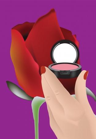 Foto per trucco in mano femminile e fiori - Immagine Royalty Free