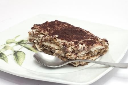 Cold chocolate cake tiramisu for dessert after a meal