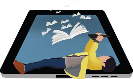 Foto per little girl reads a book over her tablet - Immagine Royalty Free