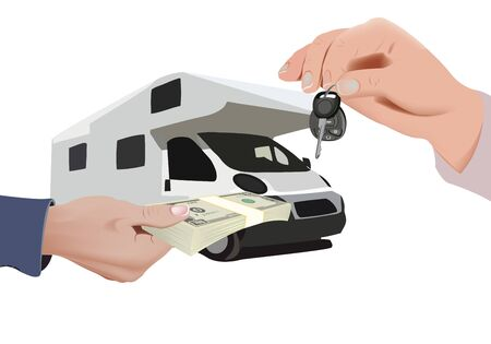 hand with currency and hand with keys selling means of transport