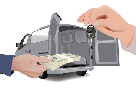 Foto per hand with currency and hand with keys selling means of transport - Immagine Royalty Free