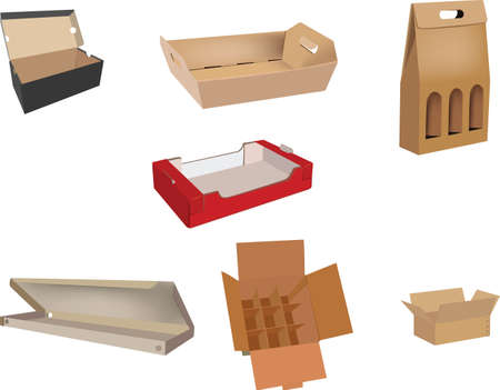 Foto per boxes of various cardboard sizes of various shapes for protection - Immagine Royalty Free