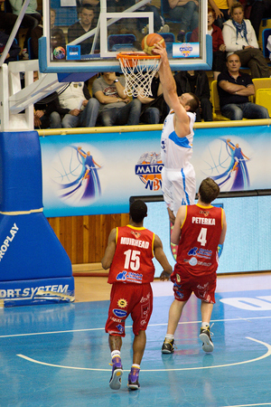 Dusan Pandula, Martin Peterka and Corey Muirhead in 5th game of PlayOff Mattoni National basketball League semifinals  13 5 2014