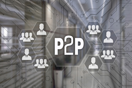 P2P, Peer to peer   on the touch screen with a blur background of the office.The concept of Peer to peer.