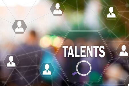 Search Talented employees, Human Resources on the touch screen to the network, on people blur background.Concept of search for talented employees, programmers