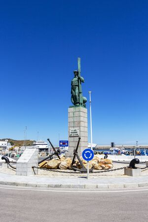 TARIFA, SPAIN - MAY 27, 2019: Monument to the Men of the Sea, A los Hombres de la Mar at Tarifa Port