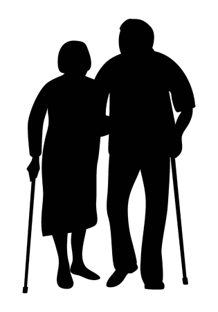 Illustration for Elderly couple holding hands walking in the park silhouette. Grandfather and grandmother stand together leaning on a cane. Vector illustration. - Royalty Free Image