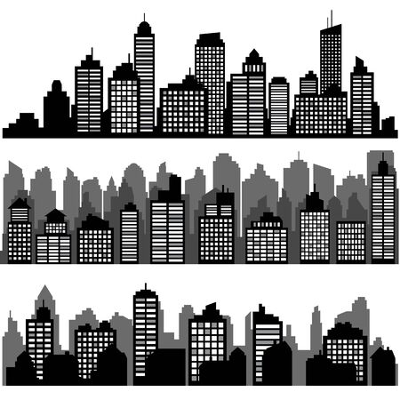 Illustration for Set of different black horizontal night cityscape. - Royalty Free Image