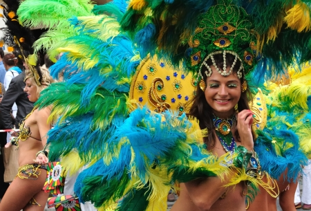 Warsaw, Poland - September 5, 2009 - Samba dancers in the Carnival Parade - Bom Dia Brasil.