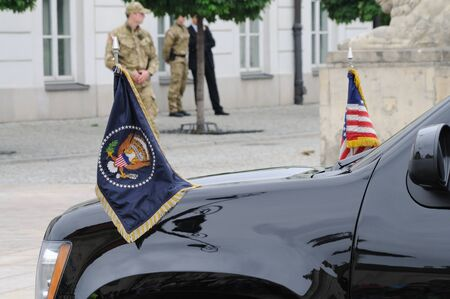 Warsaw, Poland - May 28, 2011 - The Flag of the President of the United States, flown on the presidential motorcade Chevy SUV.