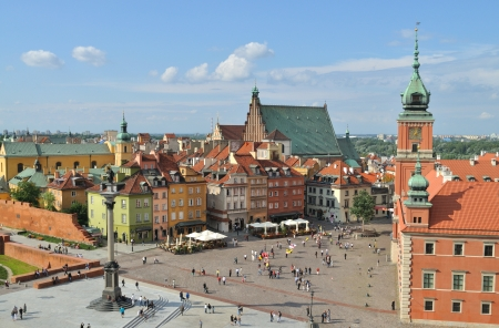 Aerial view of the Warsaw's old town. Poland