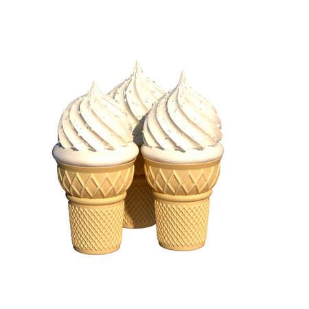 ice cream waffle glass illustration