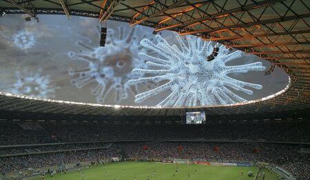 Photo pour Coronavirus, stop to football competitions, covid-19 pandemic - image libre de droit