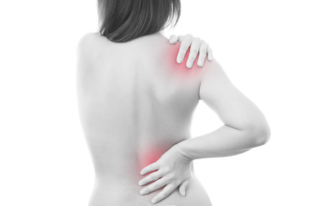 Pain in a body of the woman. Backache.