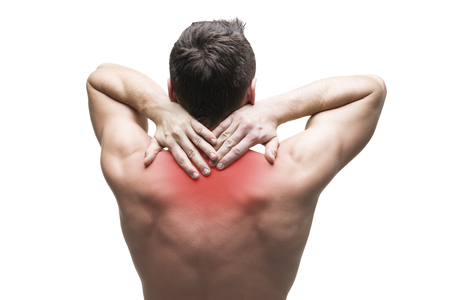 Photo pour Pain in the neck. Man with backache. Muscular male body. Isolated on white background with red dot - image libre de droit