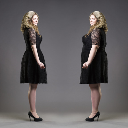 Foto de After before loss weight concept, plus size and slim models in black dresses on gray studio background - Imagen libre de derechos