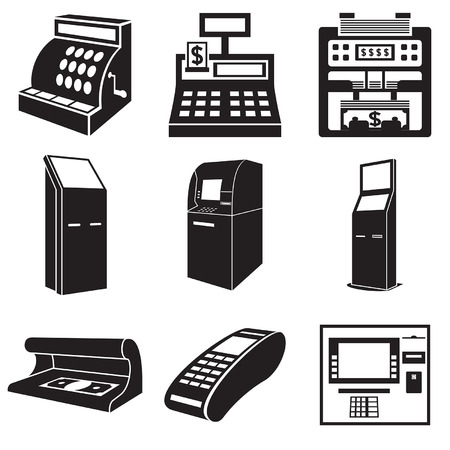 Icons of devices for money: cash register, bill counter, ATM, payment terminal, currency detector.