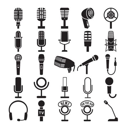 Ilustración de Microphone icons set. Vector illustration - Imagen libre de derechos