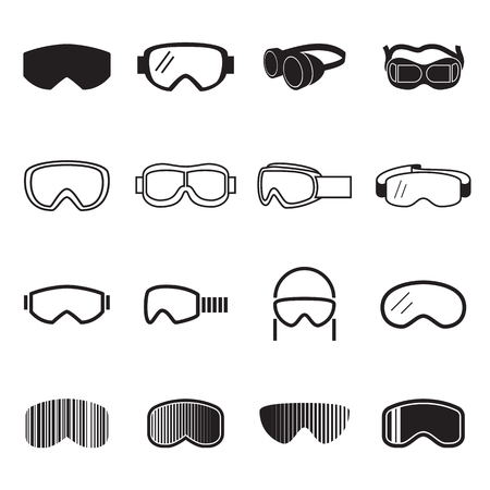 Goggles icons. Safety glasses icons. Vector illustration