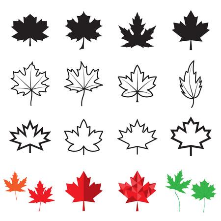 Illustration pour Maple leaf icons. Vector illustration - image libre de droit
