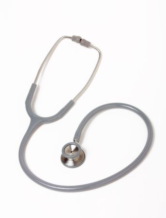 Grey and silver doctors Stethoscope isolated against white background.
