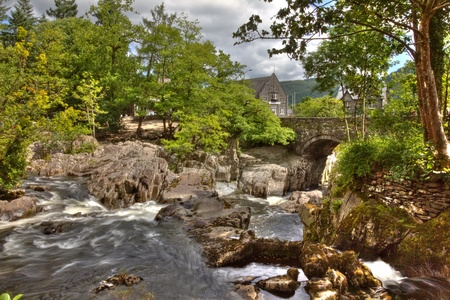 Hdr image of Betws y Coed bridge and waterfall in Wales.
