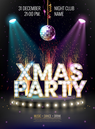 Illustration pour Xmas party glowing letters with light bulbs and a gold outline. Night party poster, greeting card, template for your design projects - image libre de droit
