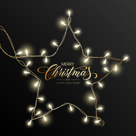 Foto de Holiday's Background for Merry Christmas greeting card with a light garland and lettering Merry Christmas and Happy New Year. - Imagen libre de derechos
