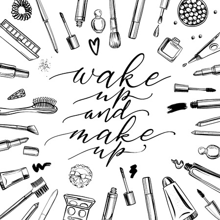 Illustration pour Black and white cosmetics background with lettering wake up and make up. Hand drawn decorative cosmetics set - image libre de droit