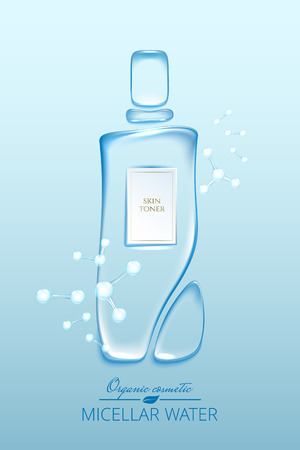 Illustration pour Original advertising poster design with water drops and liquid packaging silhouette for catalog, magazine. Cosmetic package.Moisturizing toner, micellar water hyaluronic acid - image libre de droit