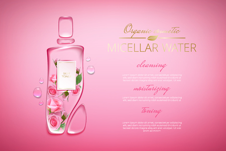 Illustration pour Original advertising poster design with water drops and liquid packaging silhouette for catalog, magazine. Cosmetic package.Moisturizing toner, micellar water with rose extract - image libre de droit