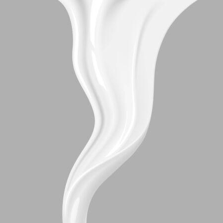 Illustration pour Pouring milk. Fluid flow, flow of cream, milk for your advertisements - image libre de droit