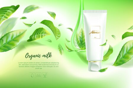 Illustration pour Advertising poster for cosmetic product for catalog, magazine. Vector design of cosmetic package.Moisturizing cream, gel, body lotion with green tea extract . Vector illustration with isolated objects - image libre de droit