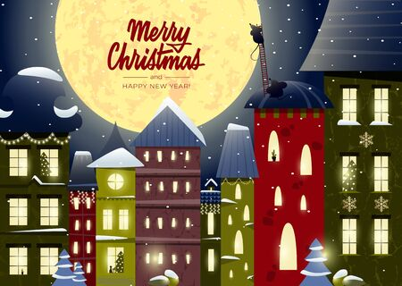 Illustration for Merry Christmas and Happy New Year card with lettering and a fabulous city, houses decorated with garlands, funny mice - Royalty Free Image