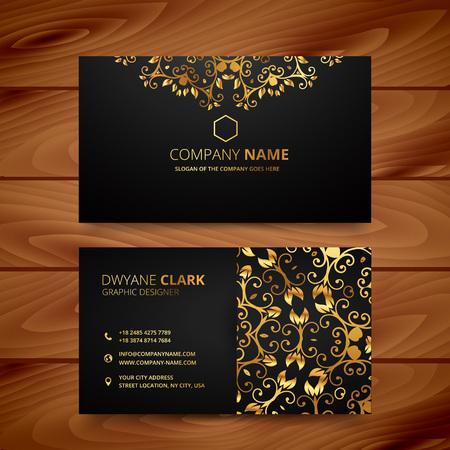 Illustration pour stylish golden premium luxury business card template design - image libre de droit