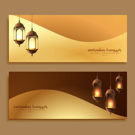 Illustration pour beautiful golden ramadan banners with hanging lamps - image libre de droit