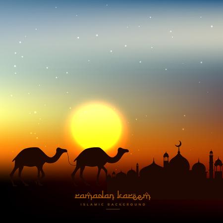 Illustration pour ramadan kareem background in evening sky with sun - image libre de droit