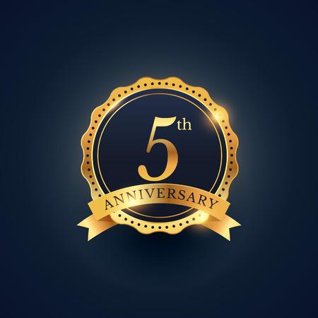 Illustration pour 5th anniversary celebration badge label in golden color - image libre de droit