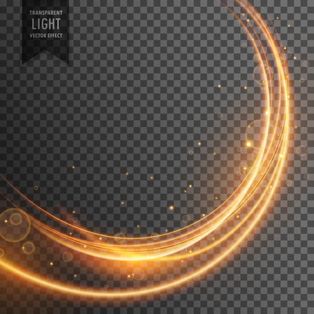 Illustration for beautiful golden light effect in wave style - Royalty Free Image