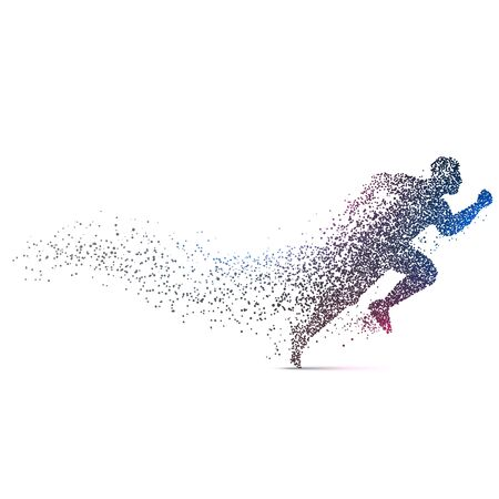 Illustration pour man running backgorund made with dynamic particles - image libre de droit