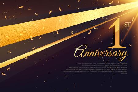 Illustration pour 1st anniversary celebration card template - image libre de droit