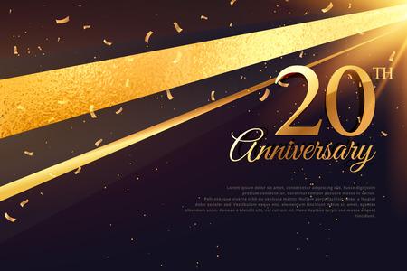 Illustration pour 20th anniversary celebration card template - image libre de droit